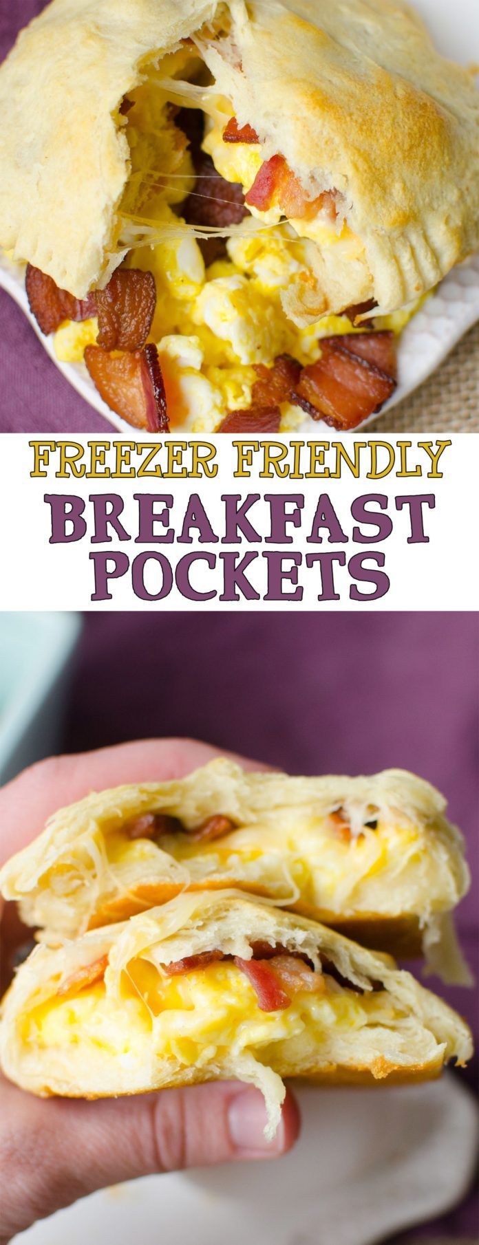 Bacon, Egg and Cheese Breakfast Pockets are full of fluffy scrambled eggs, bacon bits, and melted c