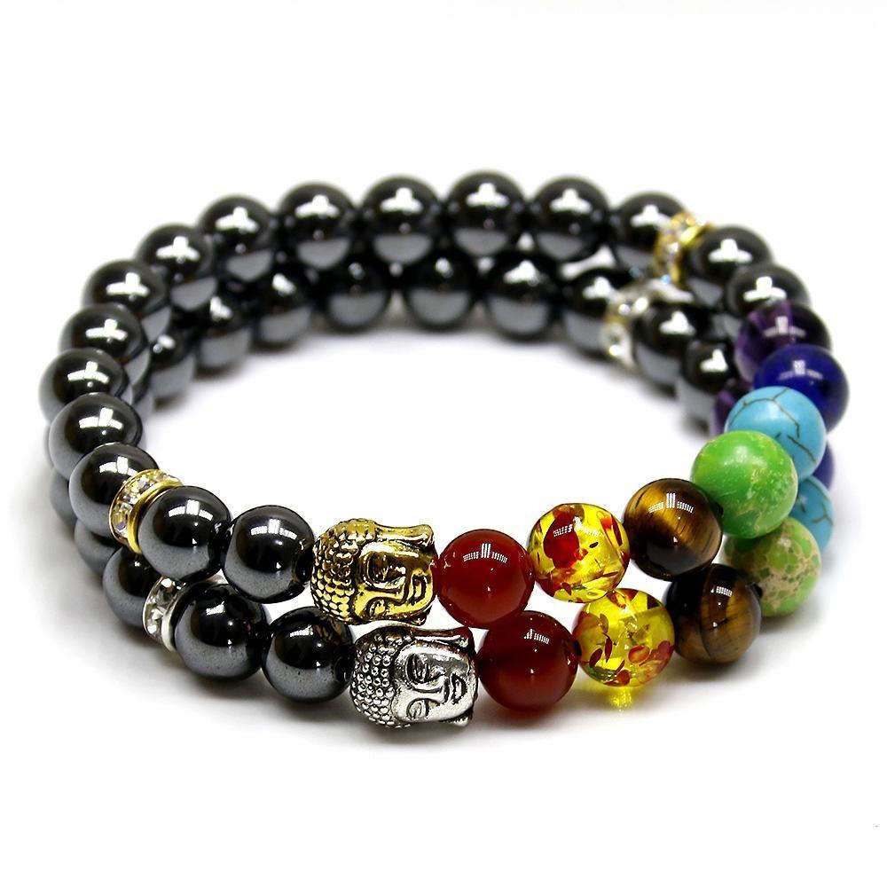 Bracelet 7 Chakras Et Hématite Bracelets For Men Bangle Bracelets With Charms Buddhist Bracelet