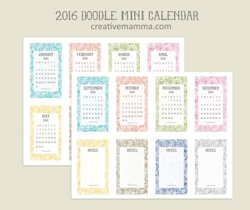 Free Printable: 2016 Mini Calendar By Creative Mamma