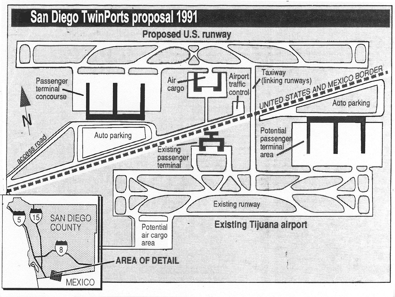 Image 5 San Diego Twinports Airport Proposal 1991 Air Cargo Cross Border Xpress Tijuana