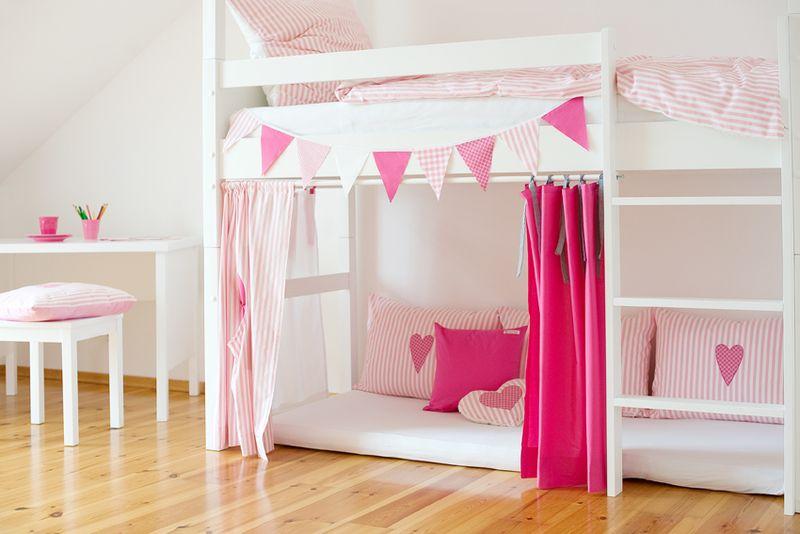 4 Hochbettvorhange Pink Rosa Weiss Kinderzimmer Gardinen