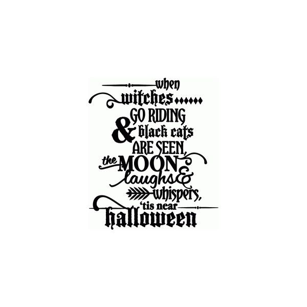 Beautiful When Witches Go Riding Vinyl Phrase ($0.99) ❤ Liked On Polyvore Featuring  Halloween,