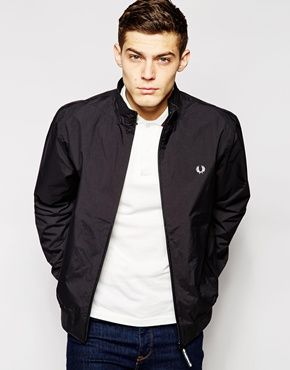 Fred perry black hooded sailing jacket