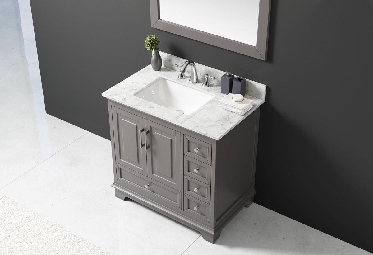 Exclusive Heritage 36 Single Sink Bathroom Vanity In Taupe Grey