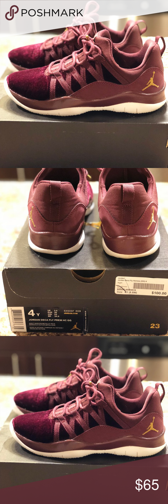 9ccc3ff505263 Jordan Deca Fly Prem HC GG Night maroon Metallic Gold Jordan Deca Fly  Heiress Sneaker Jordan Shoes Sneakers