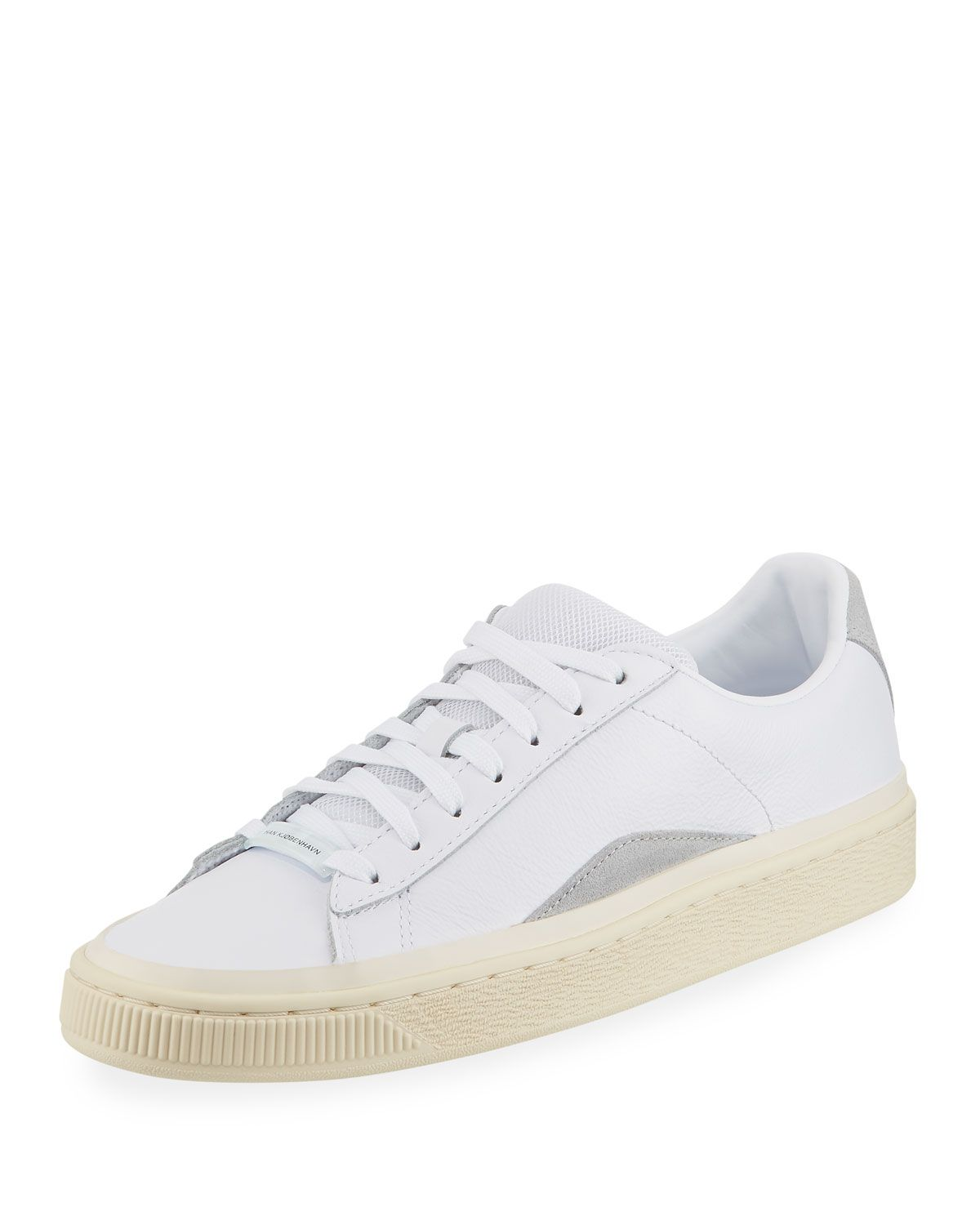 Puma Men S Han Kjobenhavn Basket Leather Lace Up Sneakers In White Modesens Leather Sneakers Sneakers Han Kjobenhavn