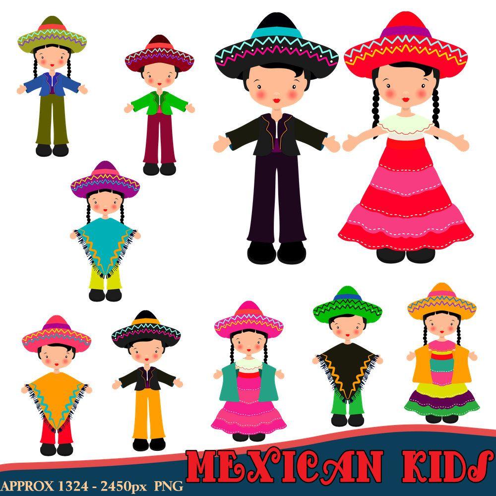 Mexican Clipart, Children Clipart, Fiesta Clipart, Mexican Dress ...