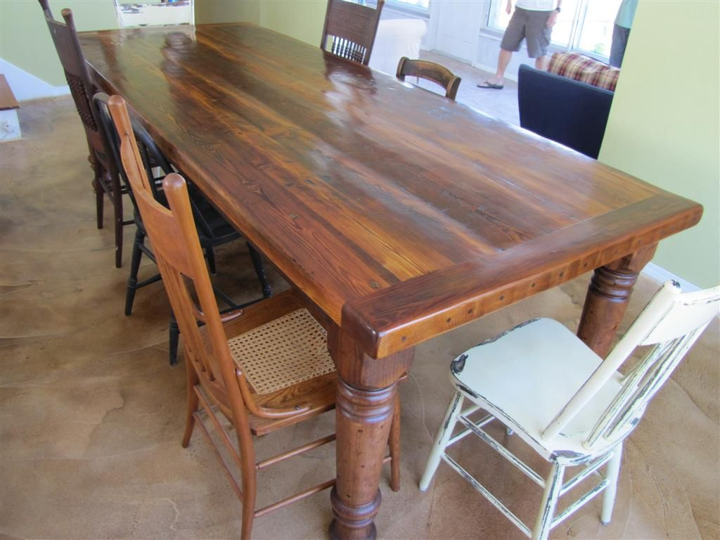 9\' Heart Pine Table with Chunky Turned Legs | For the Home | Pinterest