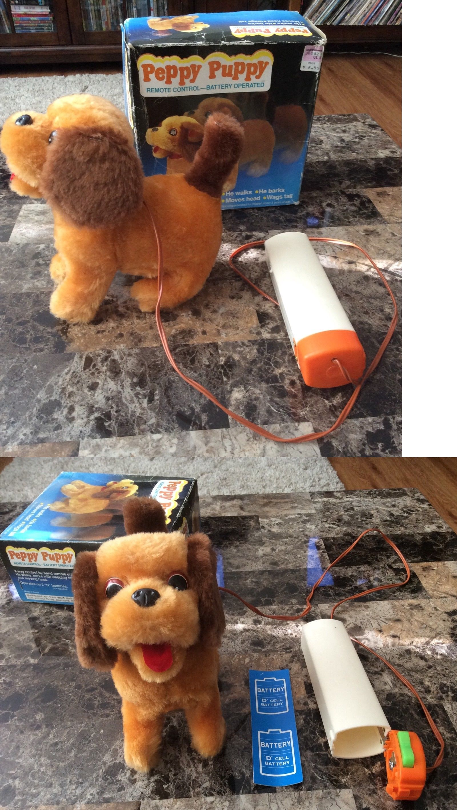 Pre 1970 719 Vintage Peppy Puppy Walking Dog Battery Operated Toy