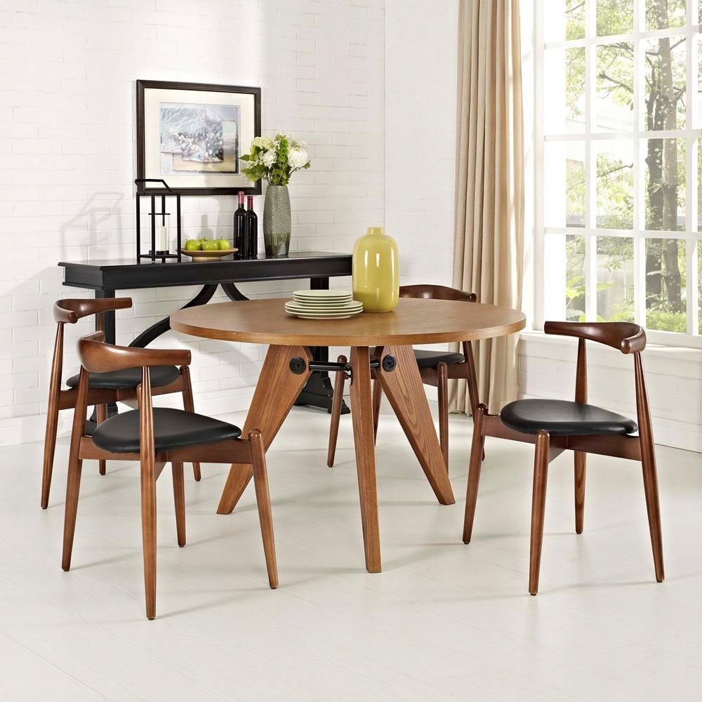 Modway Stalwart Dining Chairs And Table Set Of 5 Dark Walnut Black Side Chairs Dining Dining Chairs Dining Room Furniture