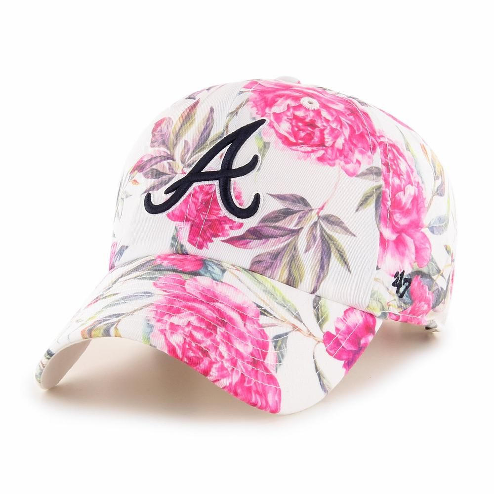 Atlanta Braves Peony 47 Clean Up Womens 47 Sports Lifestyle Brand Licensed Nfl Mlb Nba Nhl Mls Ussf Over 9 In 2020 Atlanta Braves Braves Embroidery Logo