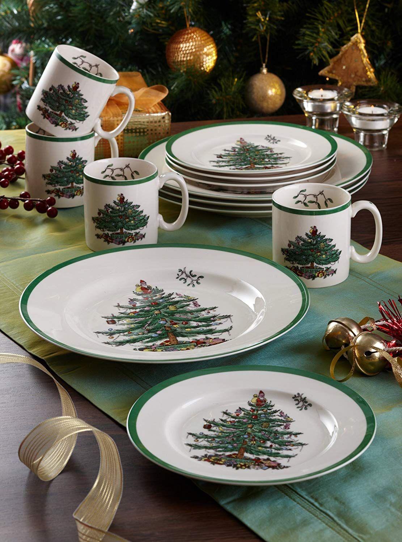 Spode Christmas Tree 12 Piece Dinnerware Set Service For 4 Christmas Dinnerware Christmas Dinnerware Sets Spode Christmas