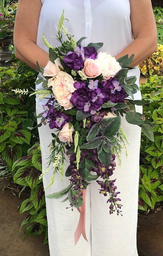 Purple Blush Cascading Silk Bridal Bouquet Purple Cascading