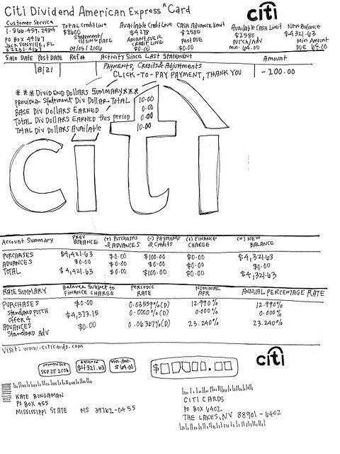 This is the first statement drawing of my new citi bank card I - bank statements