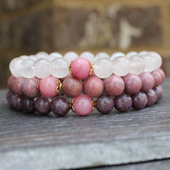 Pink Rhodonite Bracelet Buddhist Jewelry Healing Crystal Bracelet Mala Beads Bracelet Boho Bracelet Gemstone Bracelet Earthy Jewelry