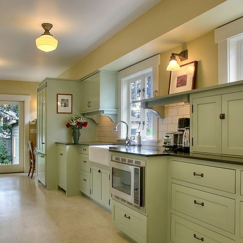 Green Painted Kitchen Galley: Modern Version Of Arts & Crafts Mint Green Kitchen