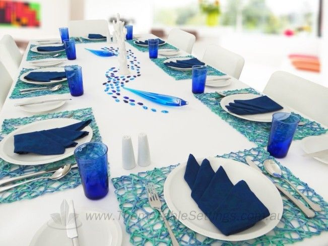 Le Grand Bleu Table Setting- Complete table setting package for eight. Includes 8 place & Le Grand Bleu Table Setting- Complete table setting package for ...