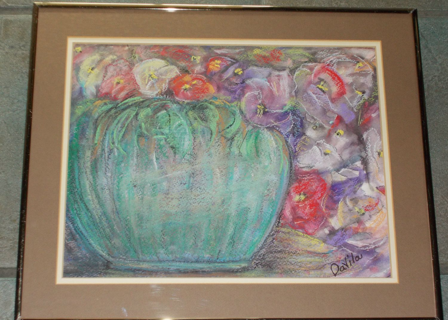 Origina painting large aqual vase with flowers painted in watercolor ...