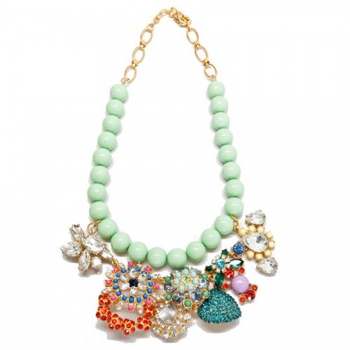 Luxe Pave Charm Mint Crystal Necklace