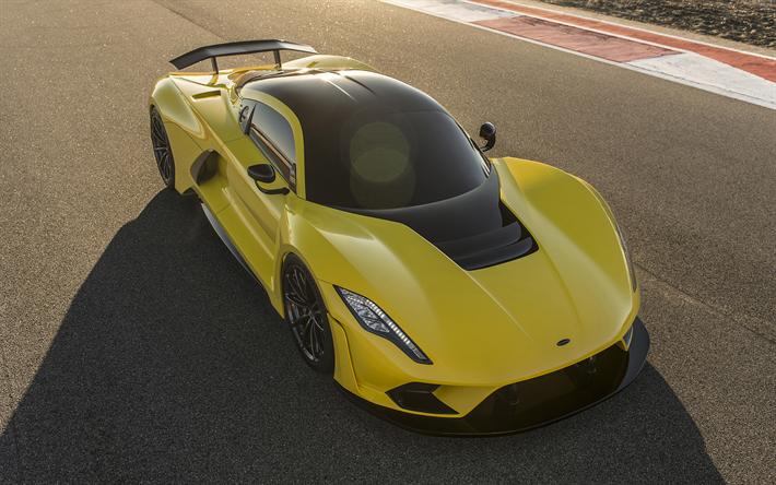 Descargar fondos de pantalla Hennessey Venom F5, 2019, coupé deportivo, hypercar, nuevos coches deportivos, amarillo Veneno, Hennessey