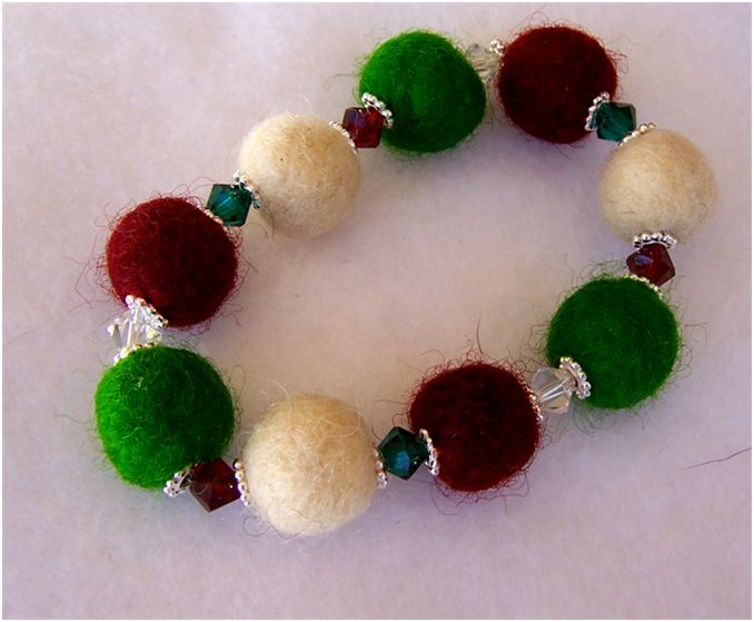 Glass bead and felted beads nice