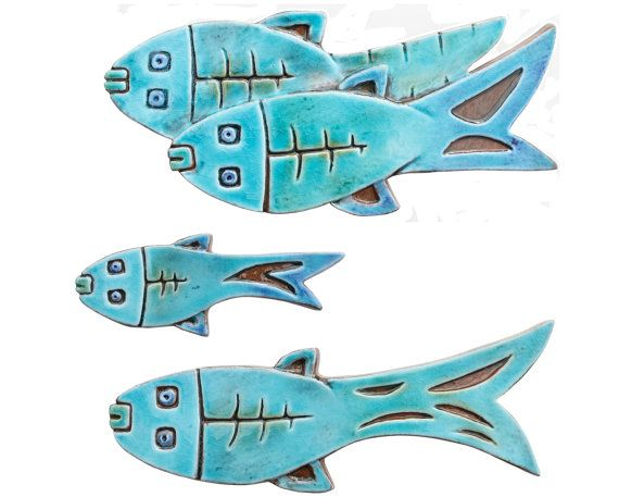 Set of4 ceramic fish // Fish wall art // Fish wall hangings // Ceramic art // Fish ornament // Ceramic fish // Turquoise   Fish wall art Ceramic fish and ...  sc 1 st  Pinterest & Set of4 ceramic fish // Fish wall art // Fish wall hangings ...