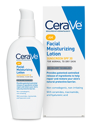 Facial Moisturizing Lotion AM - CeraVe  The best moisturizer with SPF that I've found. Doesn't get terrible reviews by EWG and it actually goes on your skin nicely (lots of zinc based sunscreens are not worth the effort for daily use).