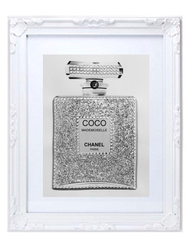 539cb462d5d9 11x14 WHITE ORNATE FRAMED COCO CHANEL MADEMOISELLE BLING GLITTER PERFUME  PRINT