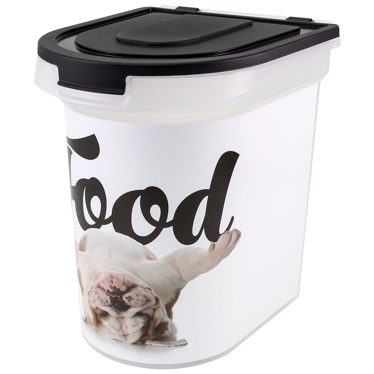 Paw Prints Food Bin Bulldog 26 Lbs Capacity Large Pet Food