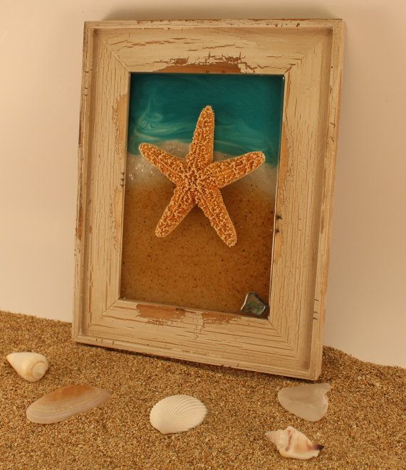 Beach Decor Framed Starfish Wall Art Real Sugar Starfish Resin Art Unique Gift For Her Off White Distressed Woo Starfish Wall Art Picture Frame Art Frame