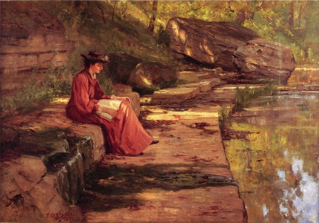 """Daisy by the River (1891). Theodore Clement Steele (American, 1847-1926). Oil on canvas. Daisy, one of Steele's three daughters, is reading by the river. Steele is perhaps the most famous of the """"Hoosier Group"""" of five American impressionist painters. These artists trained abroad but returned to Indiana and developed a distinctive style of landscape painting."""