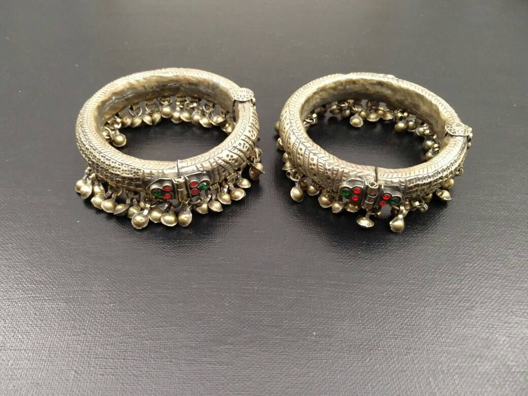 vintage Banjara Tribal jewellery pair anklets,afghan kuchi Boho Bell Anklets Pair Metal Chain Vintage Tribal Gypsy Kuchi Banjara Belly Dance
