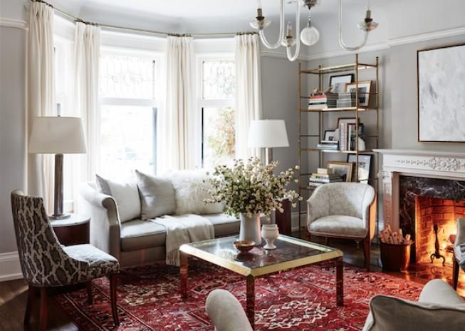 red rugs for living room open floor plan kitchen and allison willson portfolio sarah richardson design light gray walls rug neutrals