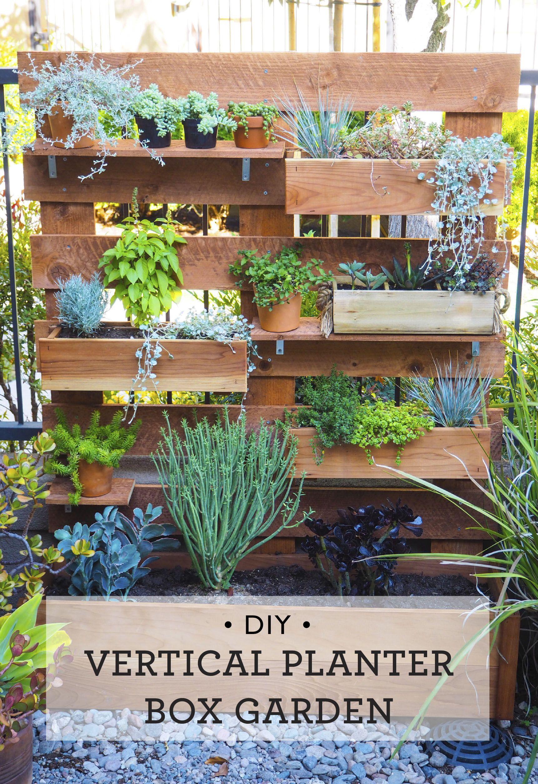 Diy vertical box planter garden garden planter boxes