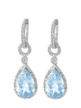 34 99 6 5 Carat Blue Topaz And 1 10 Diamond Sterling Silver Teardrop Earrings