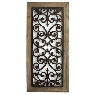 Wood And Metal Wall Art metal and wood scroll-work wall plaque (china) | wall hangings