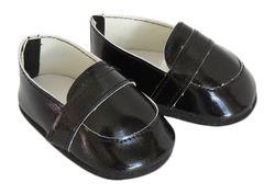 Black loafers for boy or girl dolls.