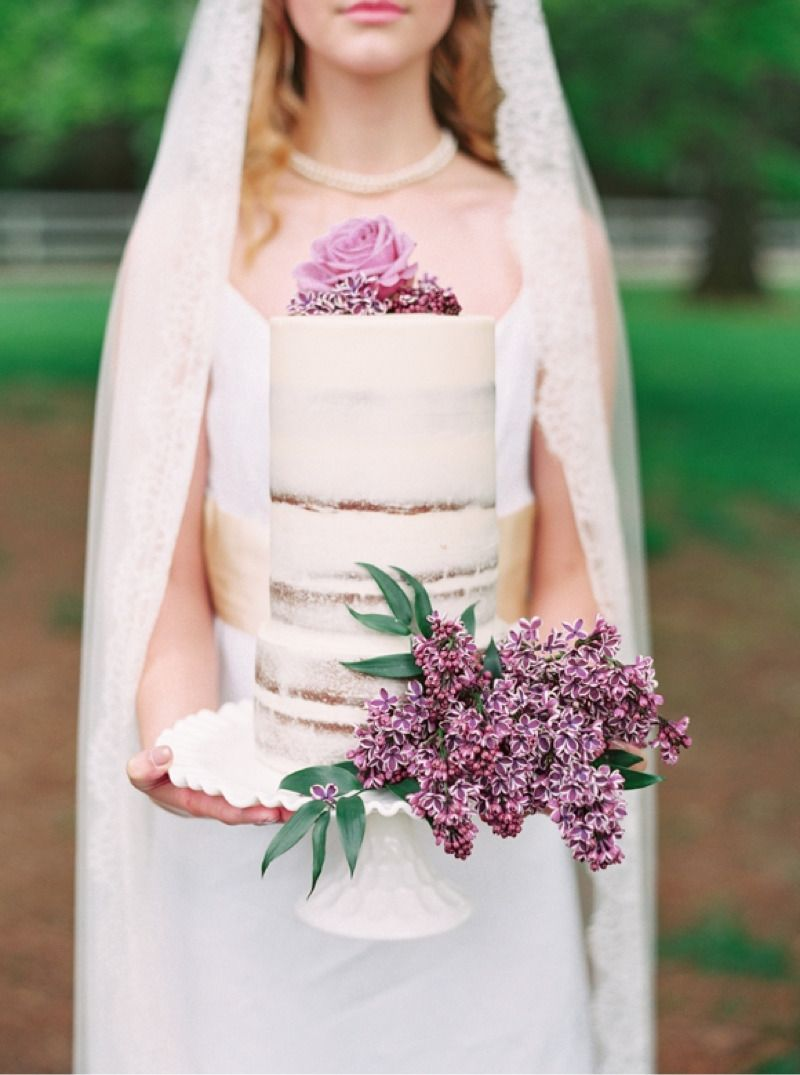 Lilac Inspired Barely There Cake See more here: http://cedarwoodweddings.com/blog/