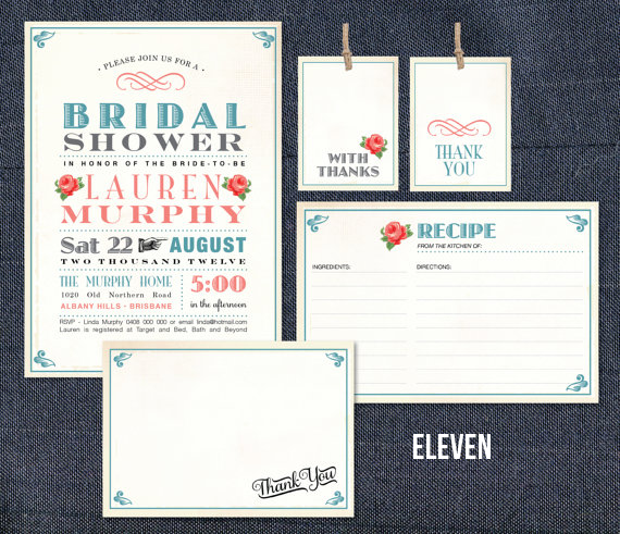 I Absolutely love the idea off everyone bringing in recipes for the bride. PRINTABLE BRIDAL SHOWER INVITES HERE