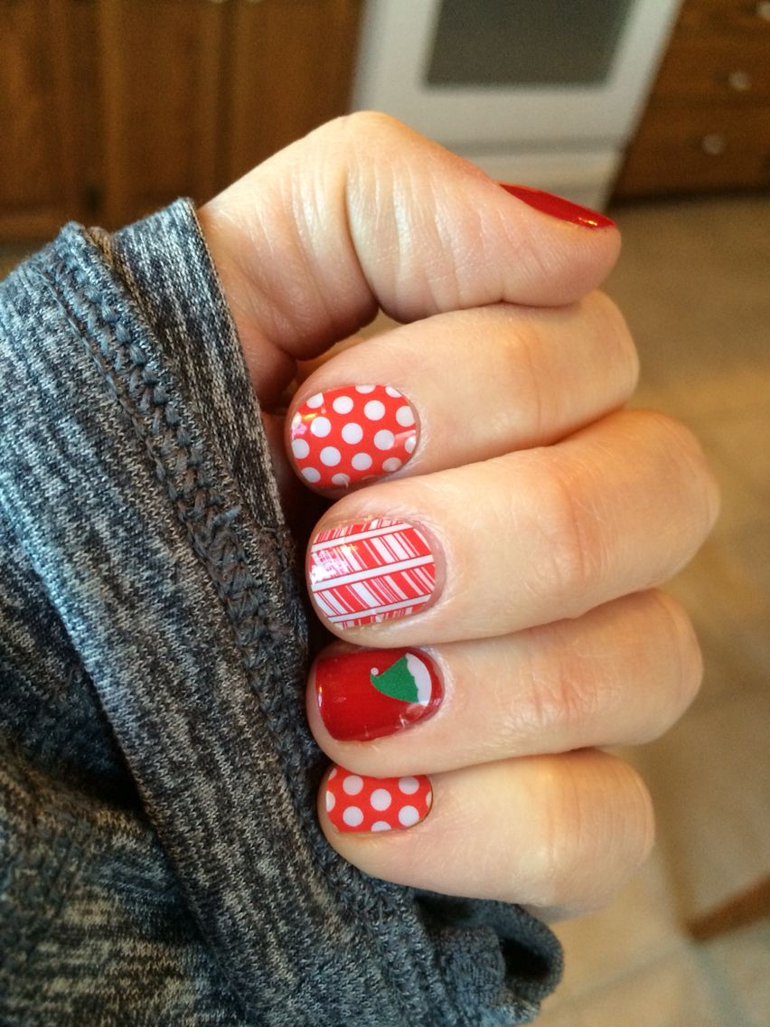 Jamberry Candy Cane Elves , Poppy and White Polka , Cardinal Lacquer