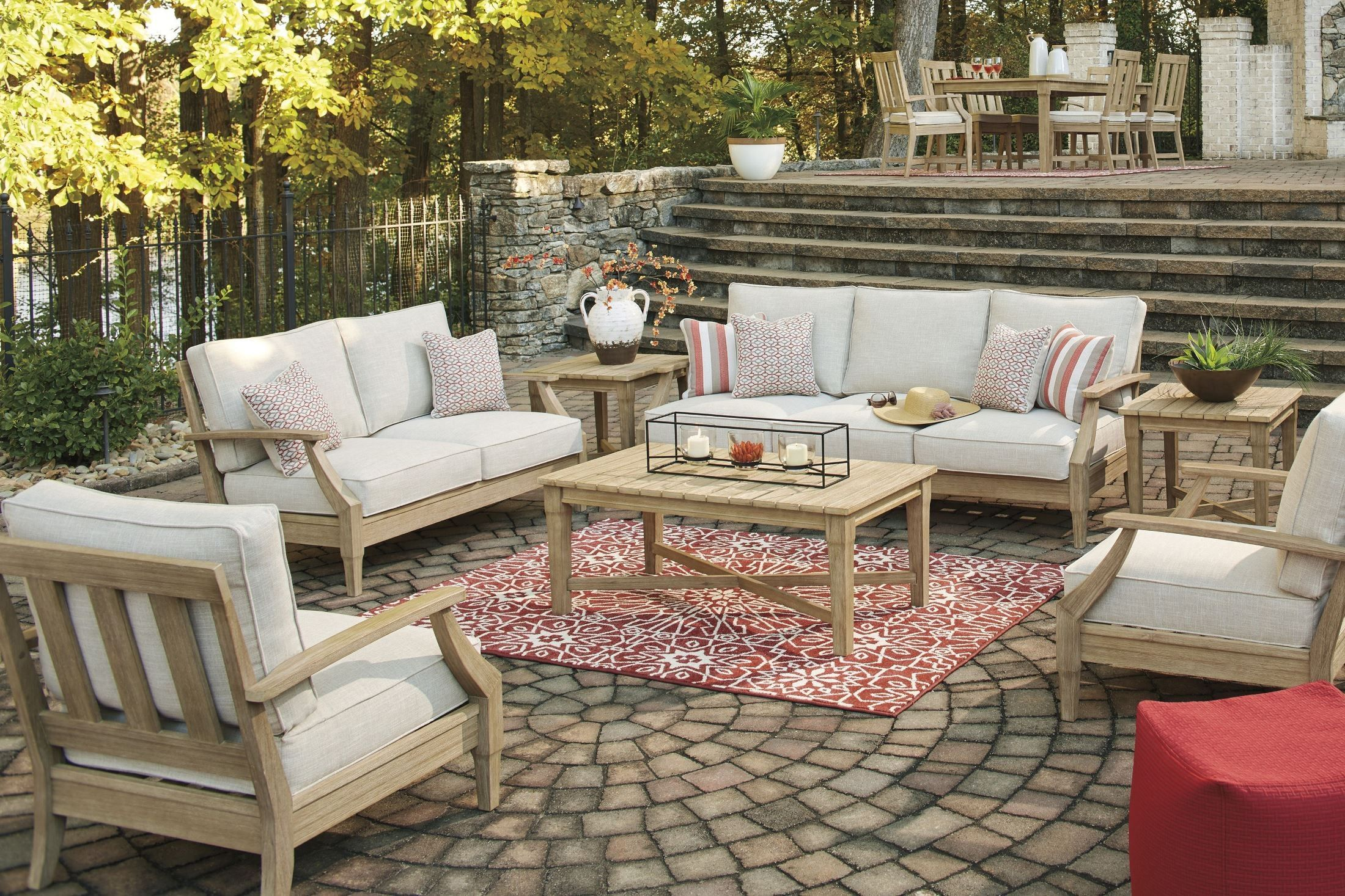 Clare View Beige Outdoor Living Room Set With Cushion Outdoor Living Room Outdoor Living Rooms Living Room Sets