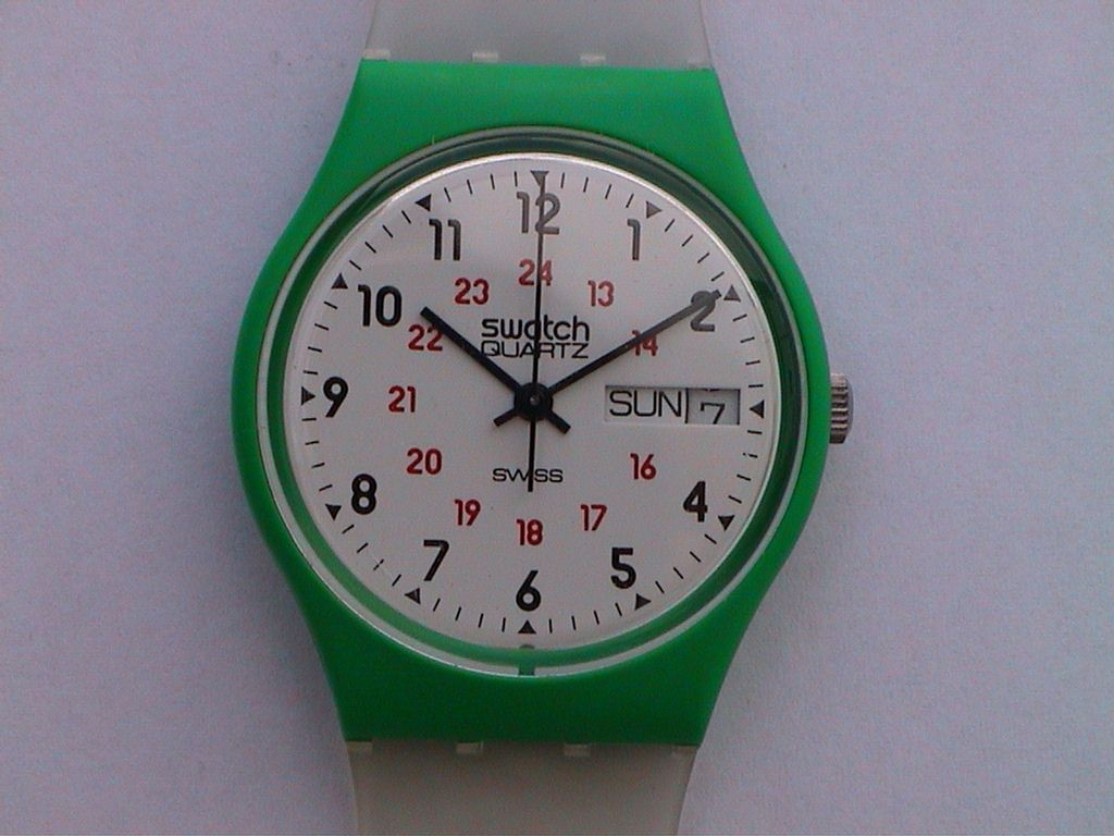 Swatch 1983 : prototype de la GG701 avec boitier vert.