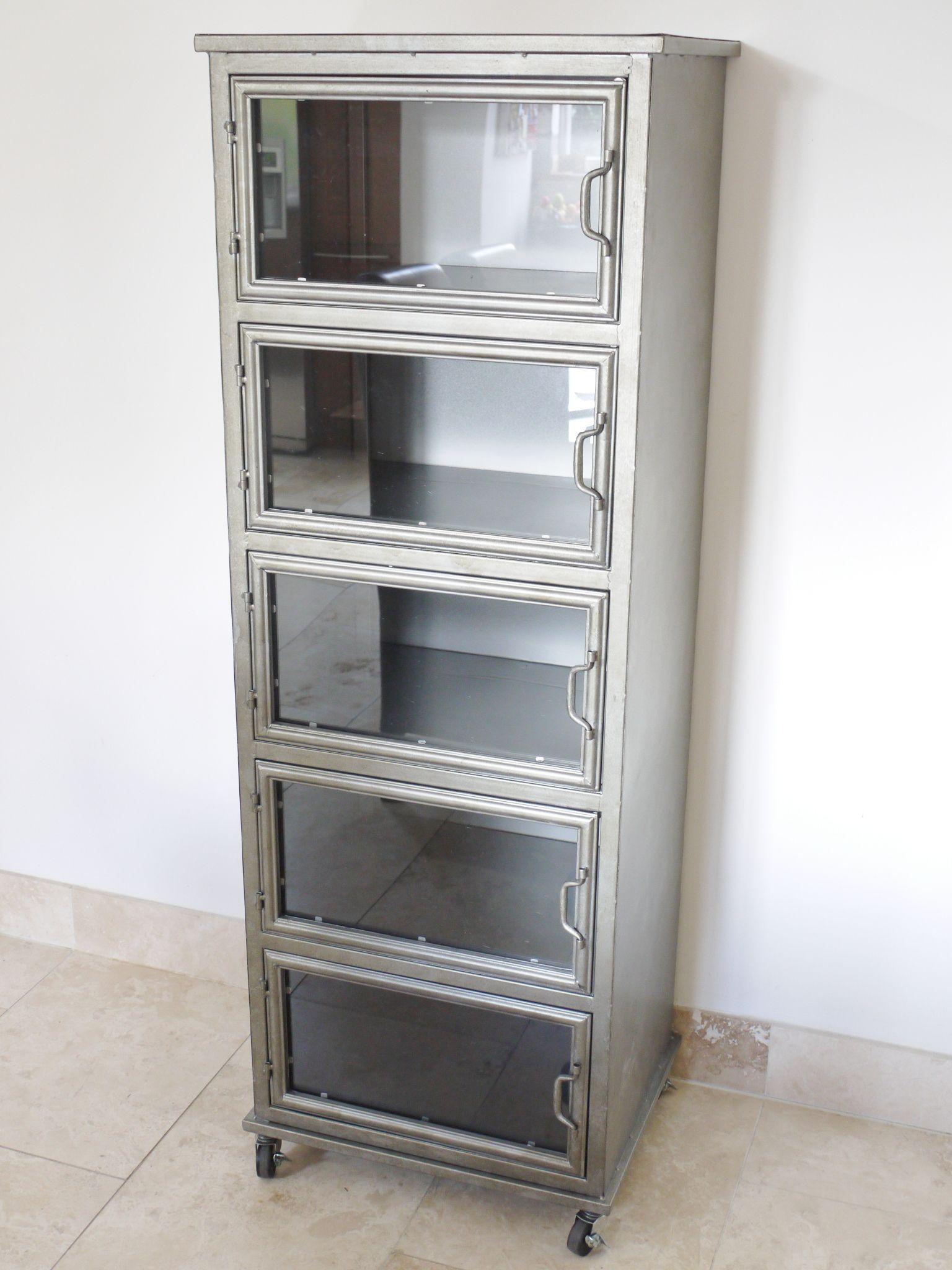 Metal Industrial Glass Fronted Storage Cabinet Vintage Industrial Furniture Retro Sideboard Glass Cabinet Doors