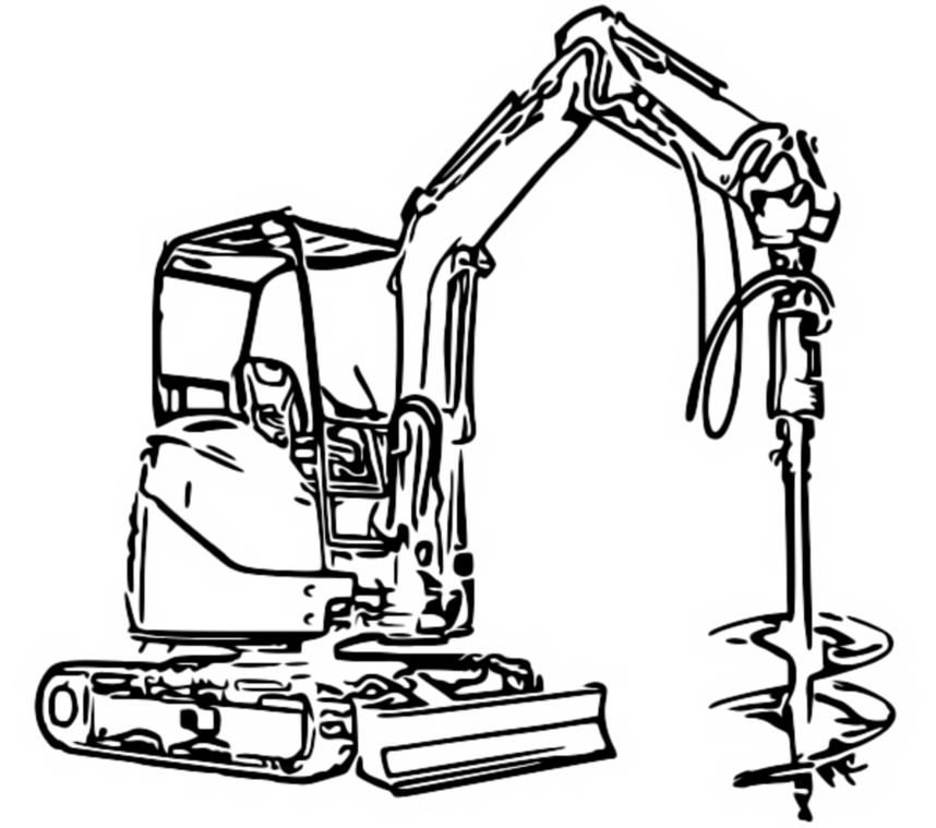 Excavator Coloring Pages Drawing For Kids Disney Princess Barbies Color