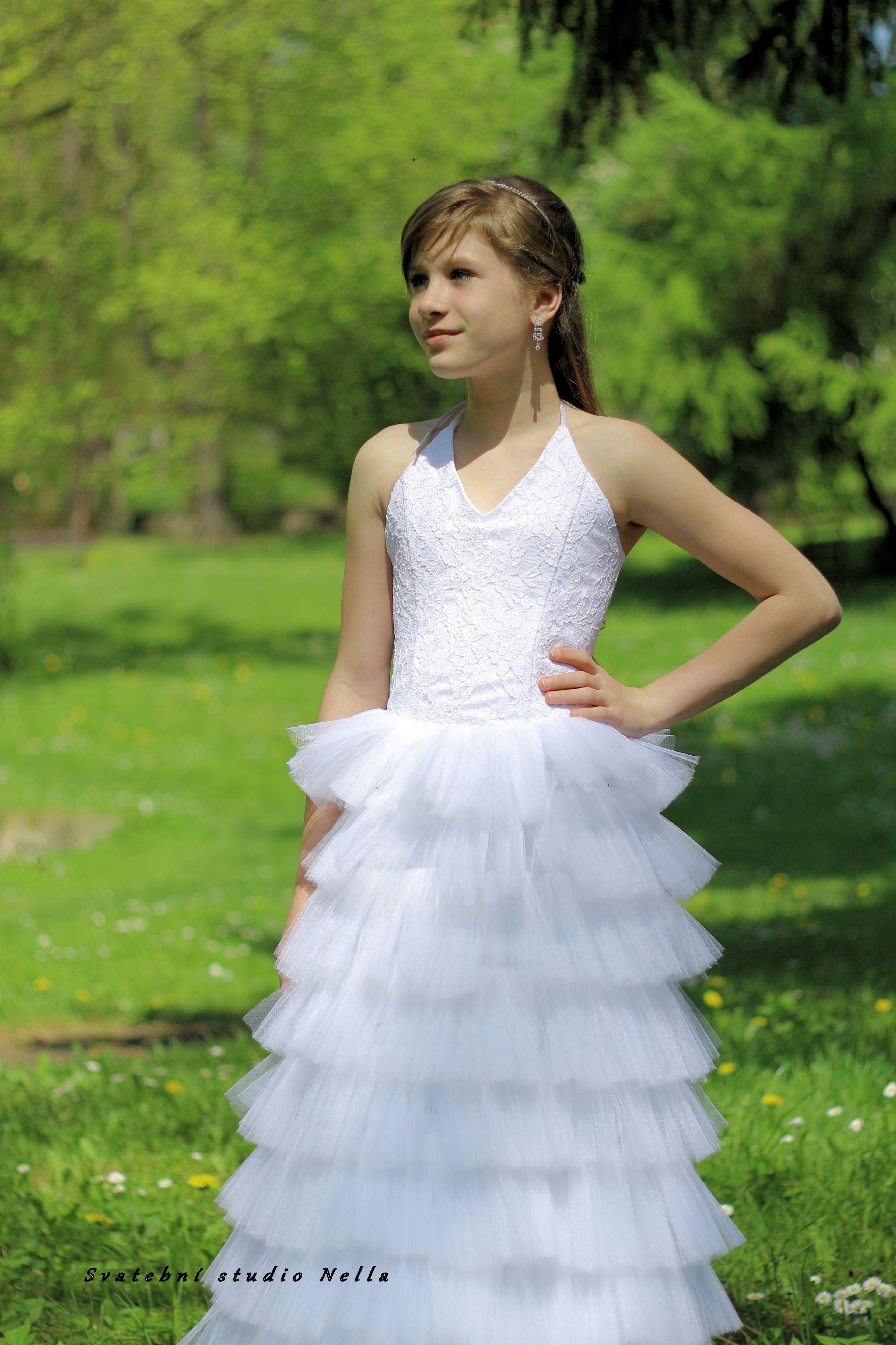 Dětské bílé šaty na svatbu - dětské šaty pro družičky - Půjčovna šatů-  Svatební studio Nella- Česká Lípa 388f8e2e50e