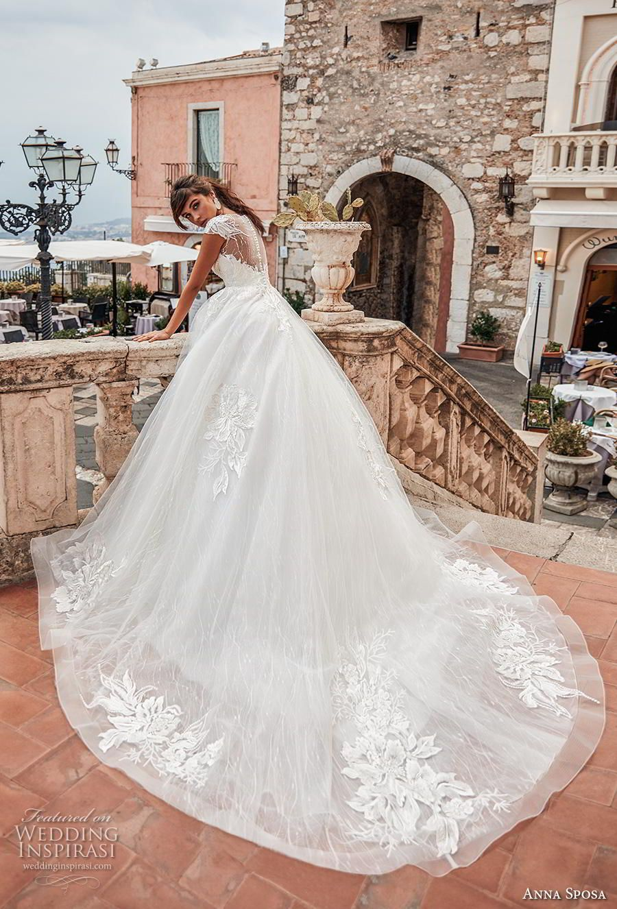 c9d74874e778 anna sposa 2019 bridal cap sleeves illusion bateau deep plunging sweetheart  neckline heavily embellished bodice romantic ball gown a line wedding dress  ...