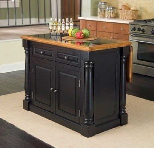 Best Mobile Breakfast Bar Portable Kitchen Island Black 640 x 480