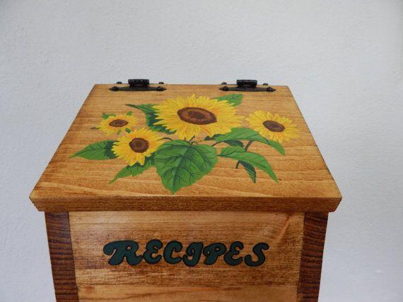 recipe box, sunflower recipe box, sunflower decor. sunflower kitchen decor, wooden recipe box, recipe storage, hand painted recipe box