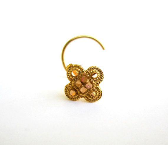 Large Nose Stud 22k Solid Gold Pin Screw Indian Gold Nose Stud