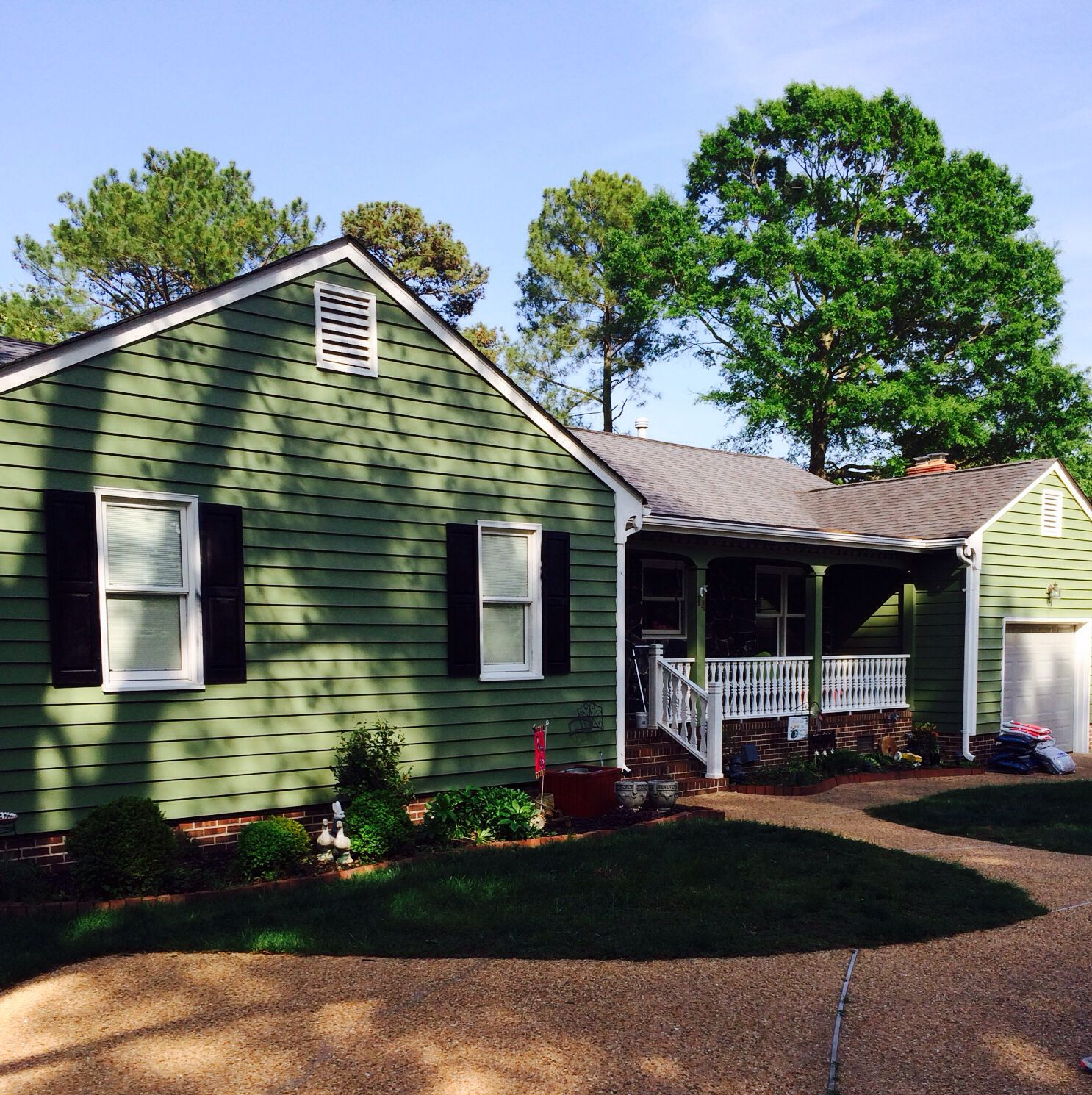 House painted with sherwin williams artichoke Green exterior house ...